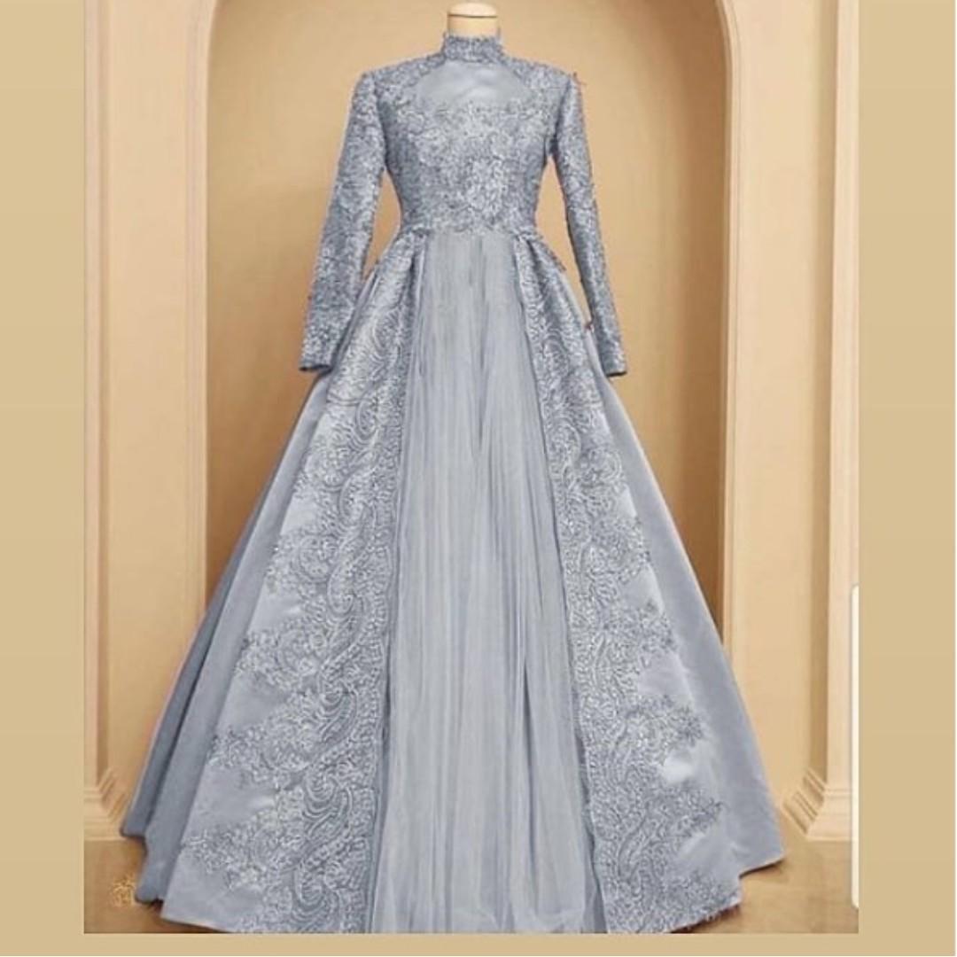 Gaun Brokat Kombinasi Satin Dan Tile Women S Fashion Women S
