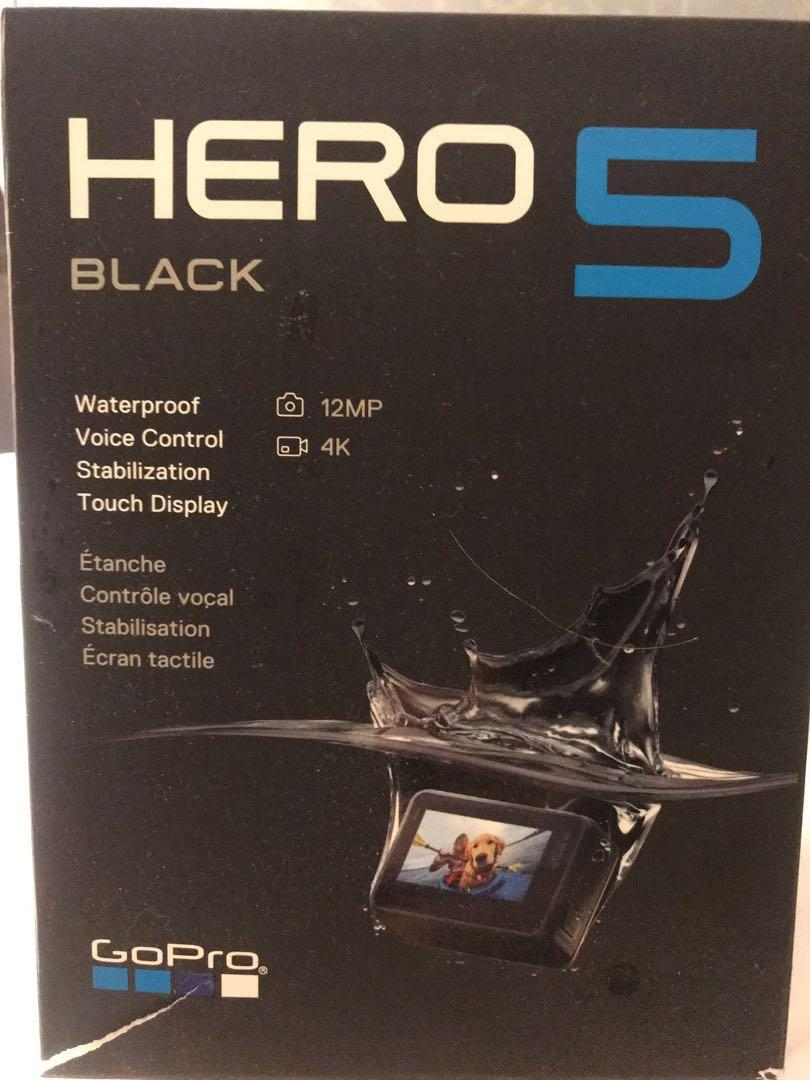 GoPro Hero 5 waterproof with tripod stick and gadgets