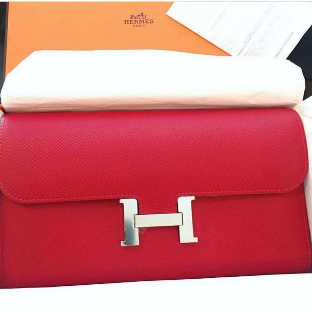 65e047ca7913 Hermes Constance Wallet In Rouge Casaque