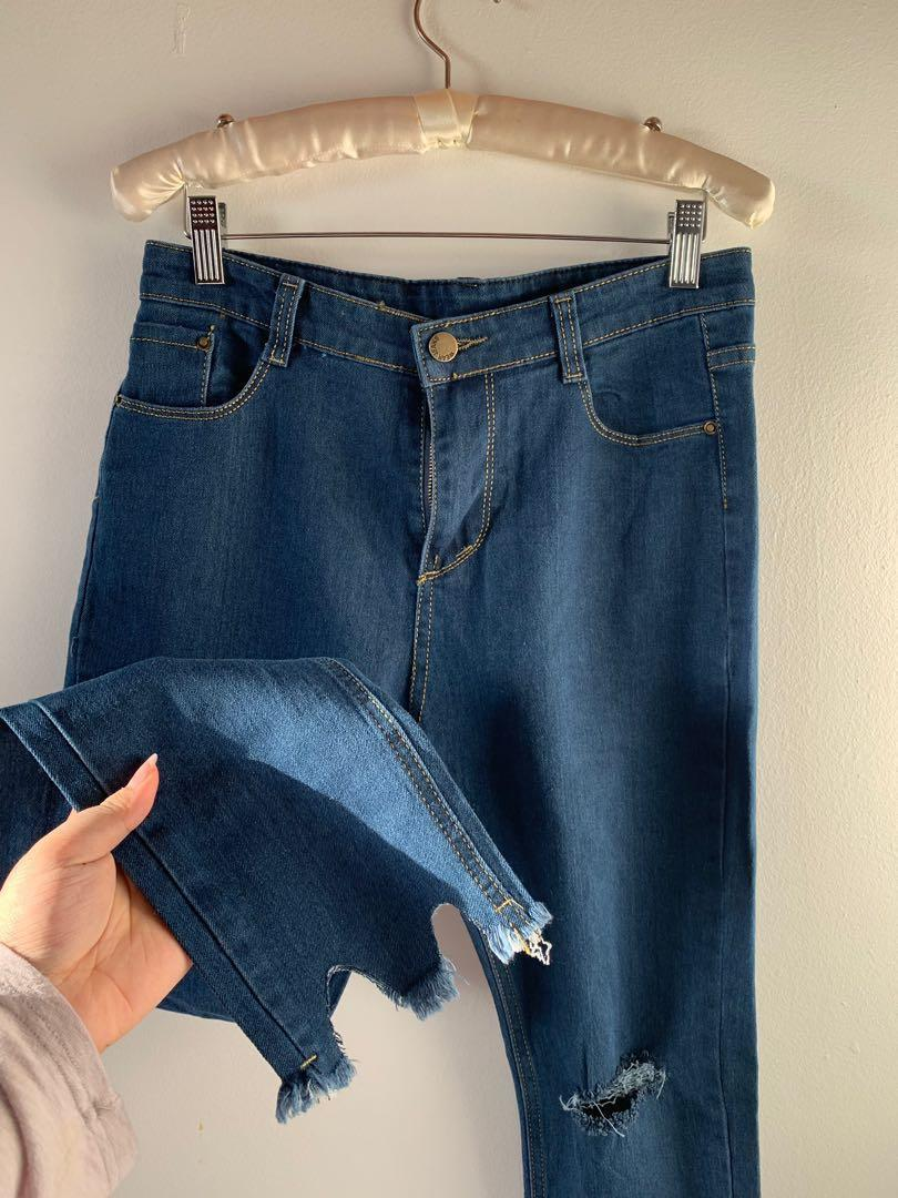 high waisted stretchy jeans w/ ankle detail #SwapCA