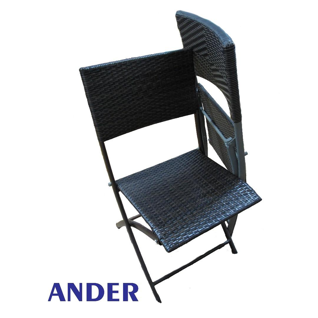 Square wicker desk & chair