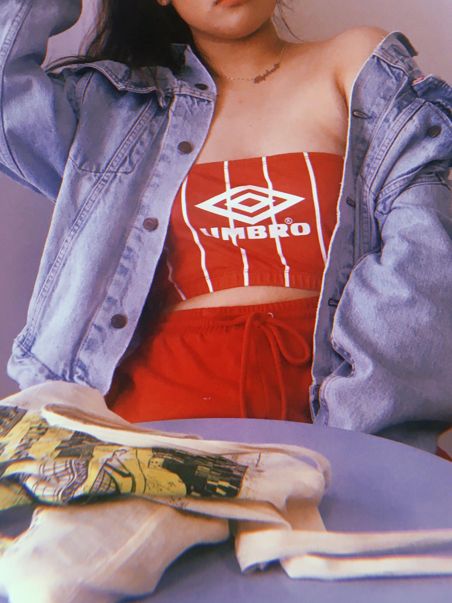 missguided Red and white stripped umbro crop top #SwapCA