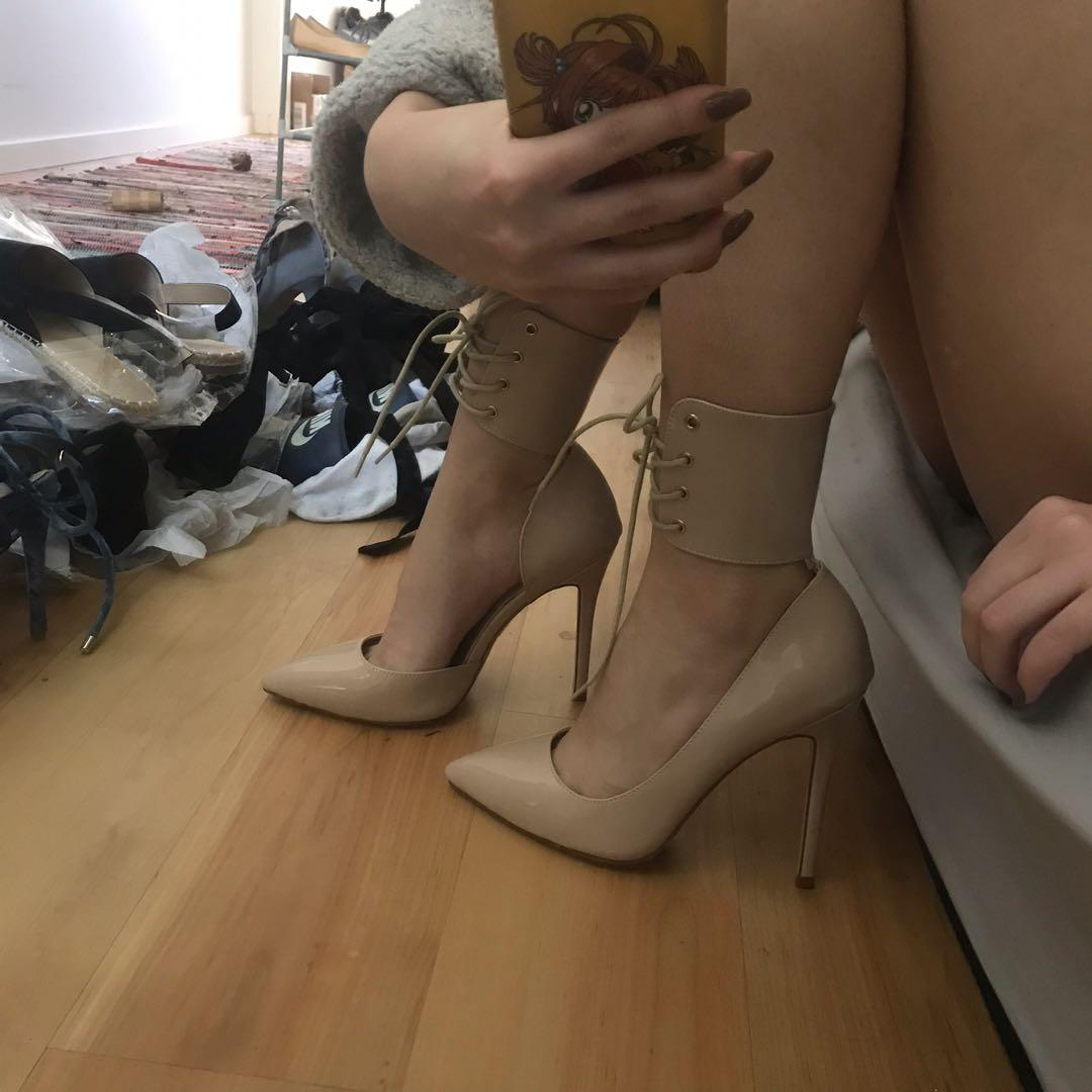 Nude laced up pointed heels size 8