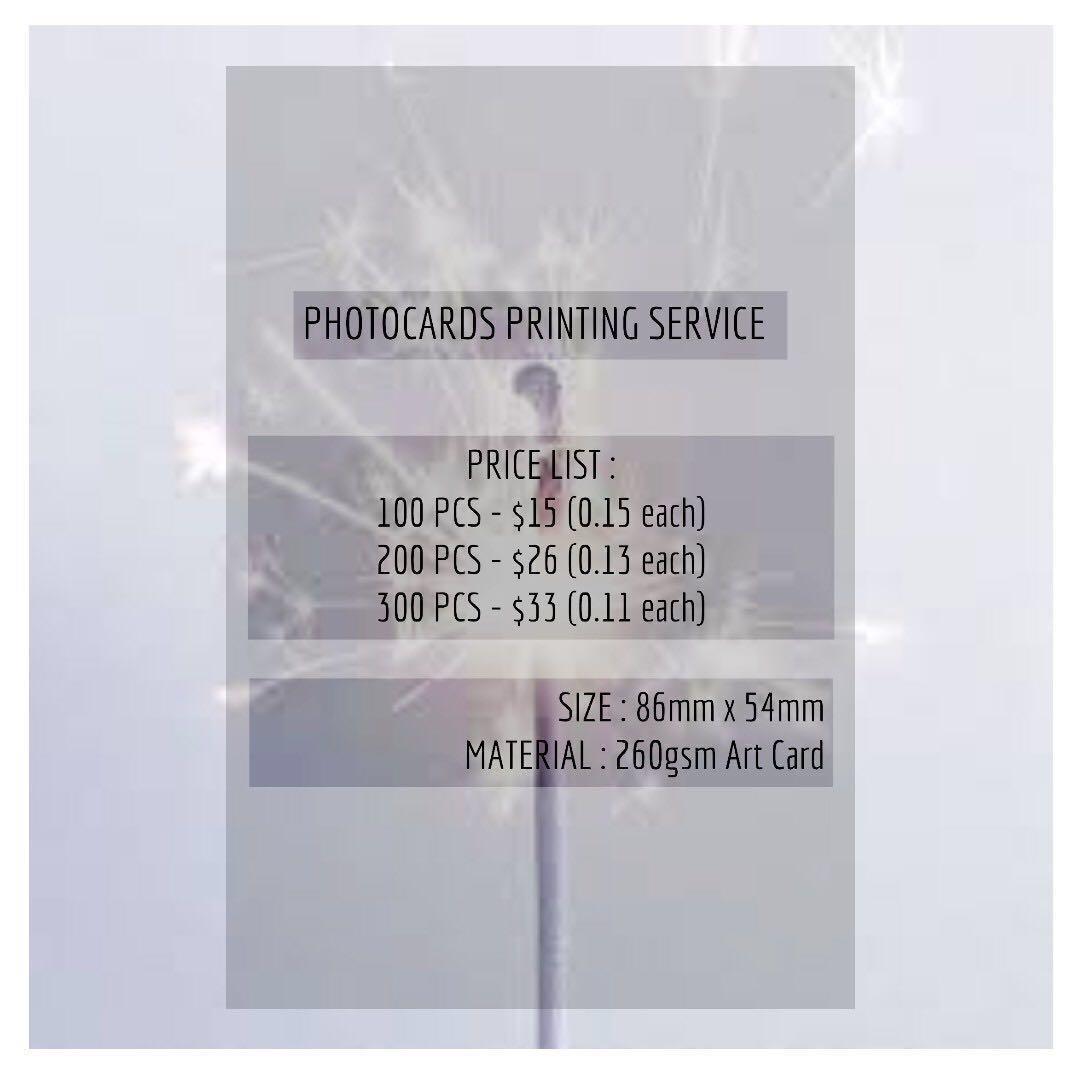 PHOTOCARDS PRINTING SERVICE
