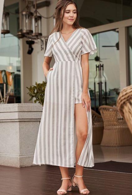 Quayside Idle Romper Dress (Grey Stripes)