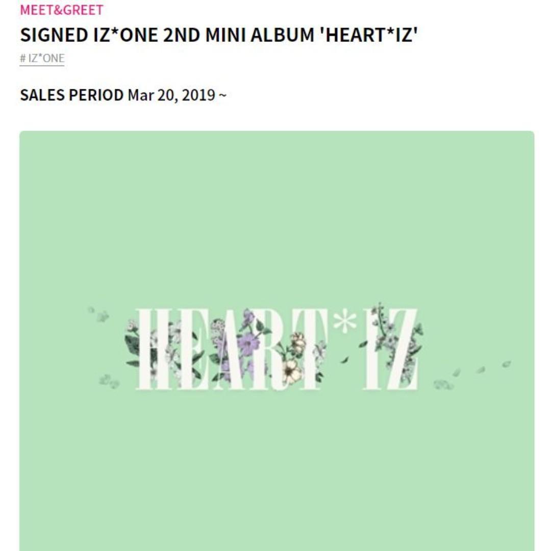RANDOM ONE MEMBER SIGNED IZ*ONE 2ND MINI ALBUM 'HEART*IZ'