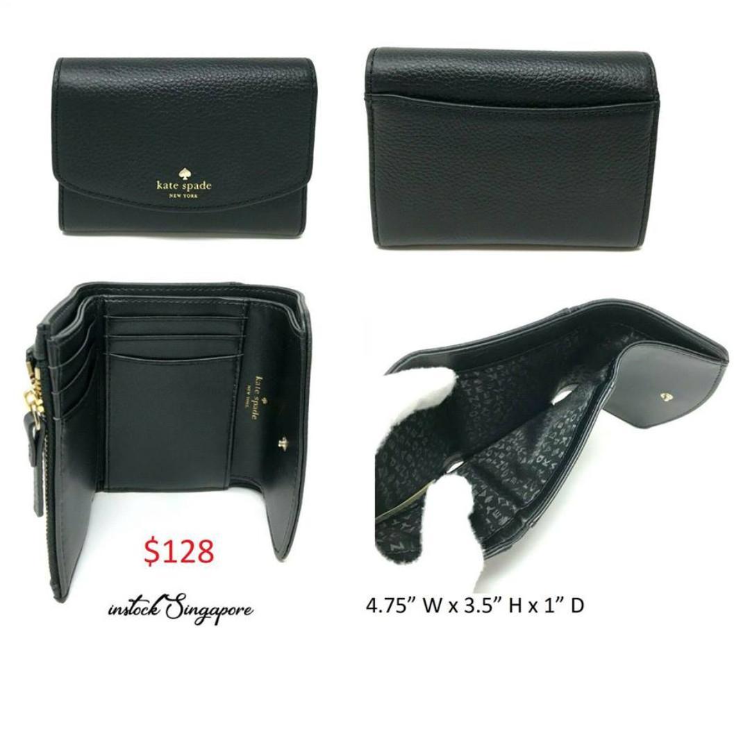 READY STOCK authentic new KATE SPADE Kate Spade Larchmont Avenue Joy Leather Black Wallet Card Holder WLRU4998