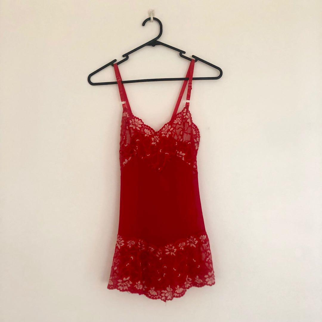 Red Mesh and Lace Slip Dress