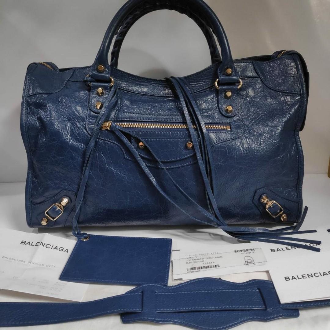 Reprice...Excellent Balenciaga city classic reg bleu profond 2017 complete set with receipt, db, tag,  mirror,booklet