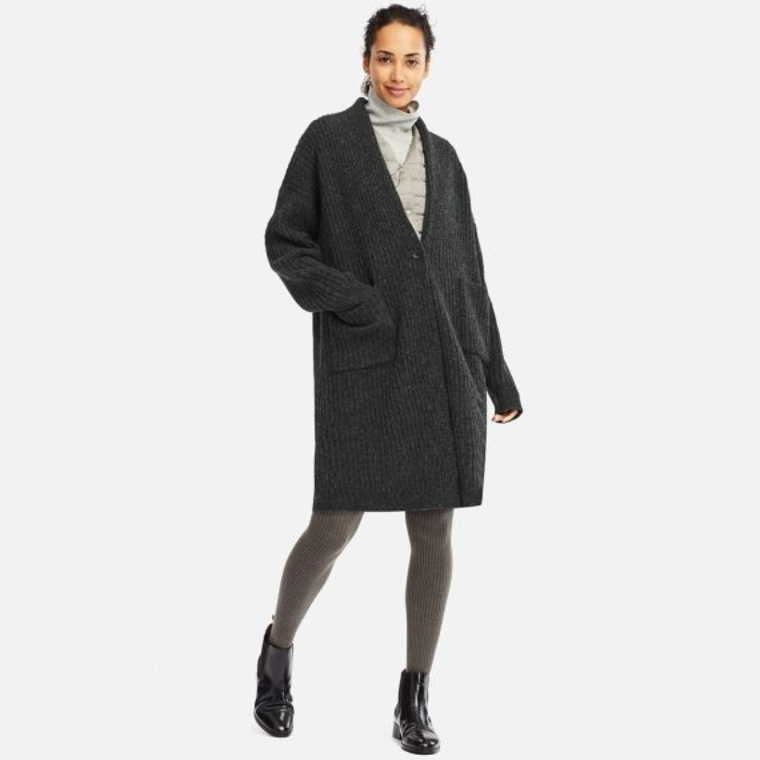 155457d7aa3e UNIQLO Wool Ribbed Knitted Coat in Dark Gray, Women's Fashion ...