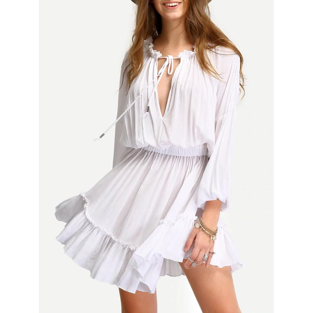 White Deep V Neck Lantern Sleeve Ruffle Lace Up Dress