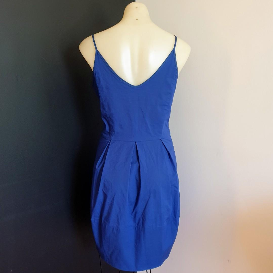 Women's size 10 'CUE' Gorgeous royal blue dress with pleats and ruffle neckline  - AS NEW