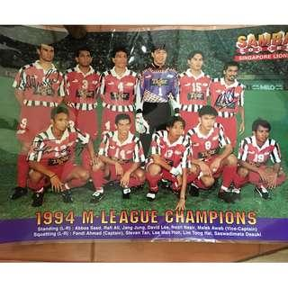 1994 Autographed SG Football team M-league Champions Poster