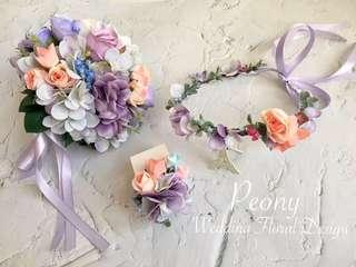 [like facebook 10%OFF] PeonyWedding: 花仔襟花/花女小花球/花女花環 [訂造款]