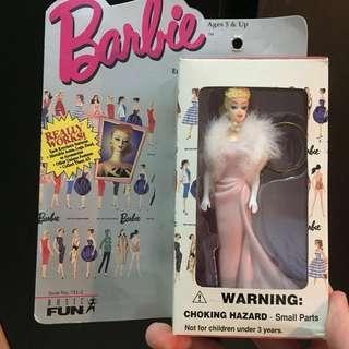 Barbie vintage 1965 pink dress with fur keychains