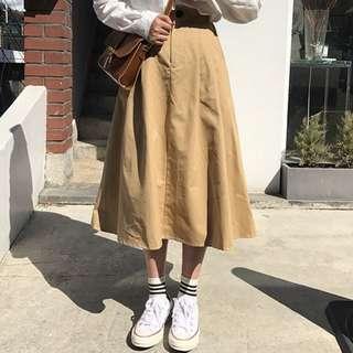 卡其色韓系學院風百搭半身高腰A字長裙