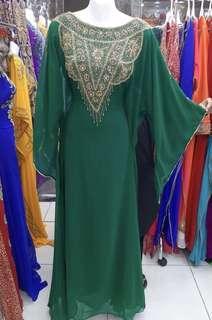Women Kaftan Dubai Jubah Long Dress Jalabiyah Green Eid In-stock