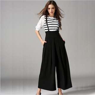 Wide long leg pants jumpsuit Black