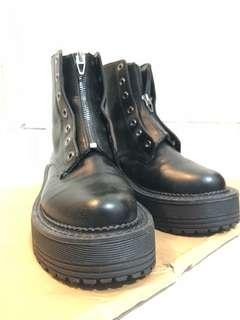 Bershka boot platform punk black 39 37 厚底馬丁鞋