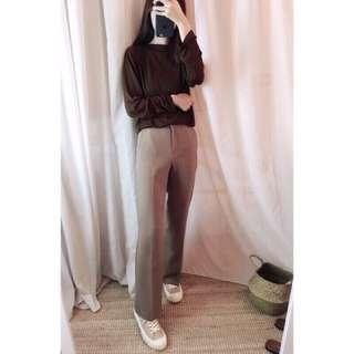 正韓摩卡色直筒褲