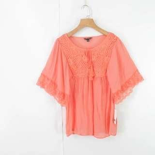 珊瑚紅刺繡蕾絲邊寬鬆上衣