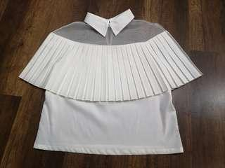 Off white pleated top with lace