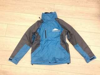 Blue Grey Winter Ski Wind jacket 2 piece with fleece lining and hood water proof (size small)