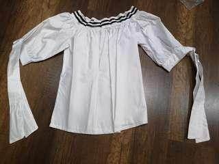 White off shoulder top w ribbons at the sleeves