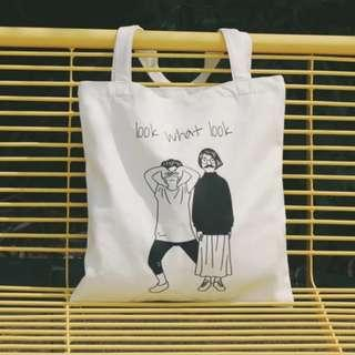 [po] 'look what look' tote bag