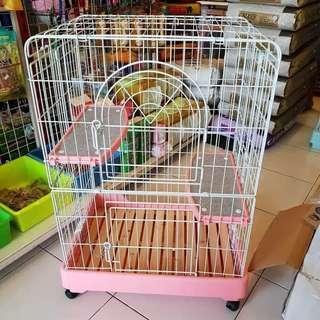 Kandang kucing 3 tingkat roda