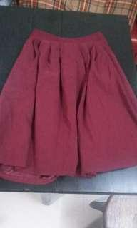 棗紅中長裙 burgundy suede skirt