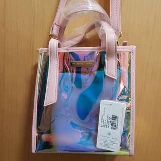 粉色透明炫光幻彩手袋