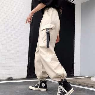 [po] street style buckle long pants