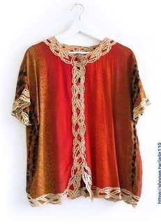 🚚 降價 日本古著 紅色漸層花紋上衣