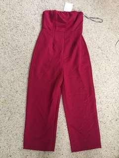 NEW maroon strapless jumpsuit