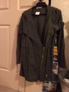 NEW green khaki denim coat jacket