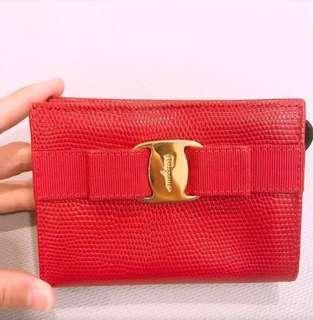 🚚 Salvatore ferragamo 大紅色零錢包、證件卡片包,正品