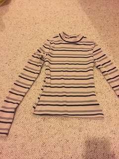 Striped turtle neck beige long sleeve