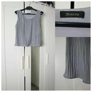 Grey Pleated Top