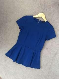 Forever 21 Blue Peplum Top, Size Small