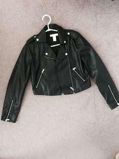 H&M Cropped Leather Moto Jacket, Size 4