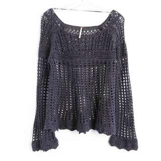 Free People crochet long sleeve top S small