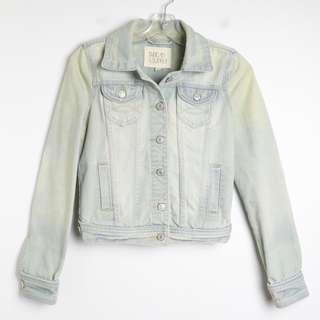 Thread & Supply distressed light denim jacket S small