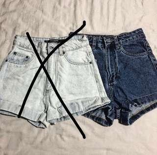 Denim High Waist Shorts (ulzzang)