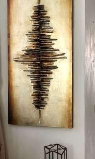 🚚 Wall Art / painting - gold brushed and wood