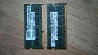 2GB x 2pcs - DDR3/ DDR III/ PC3 RAM memory modules for laptop