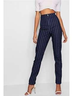 High Waisted Dark Pinstripe Jeans Pants