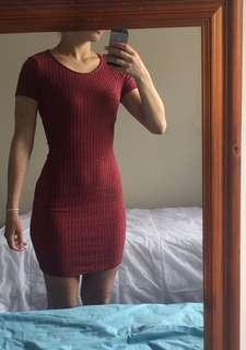 Crimson ribbed bodycon mini dress