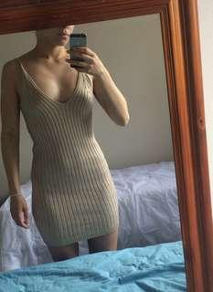 Tight knit cream dress