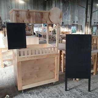 Stand Booth gerobak rombong bahan jati belanda